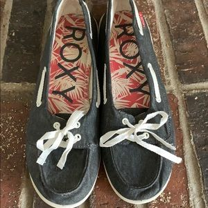 Roxy Skooner V Moc Toe Gray Canvas Boat Shoe 11